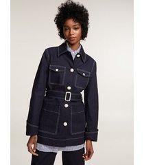 tommy hilfiger women's denim field coat navy - s