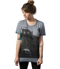 camiseta skull lab estampa caveira azul - kanui