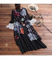 zanzea mujeres retro floral kaftan caftan flojo holgado de la llamarada del oscilación del vestido largo de midi -negro