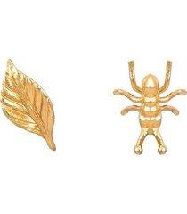 topo hormiga hoja dorado para mujer - pájarolimón