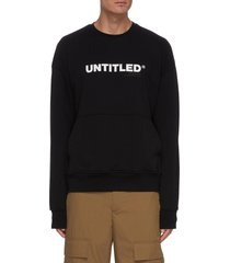 'untitled' slogan print drop shoulder sweater