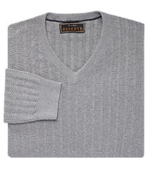 reserve collection cotton & silk herringbone v-neck men's sweater clearance