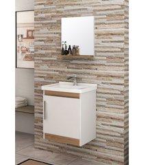 conjunto para banheiro economica branco/nogal bosi - branco - dafiti