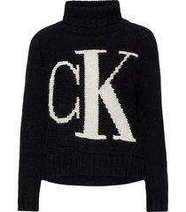 ck logo roll neck sweater turtleneck coltrui zwart calvin klein jeans