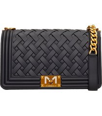 marc ellis flat m braid shoulder bag in black pvc
