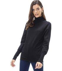 sweater cuello alto mujer negro corona