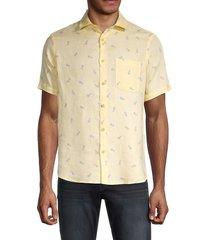 saks fifth avenue men's pineapple-print linen shirt - sunny - size s