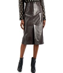 inc faux-leather front-slit pencil skirt, created for macy's