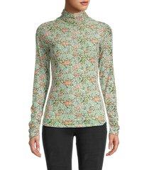vertigo women's floral turtleneck top - green multicolor - size xs