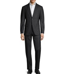 john varvatos star u.s.a. men's standard-fit micro-check wool suit - black - size 38 r