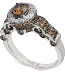 le vian chocolatier diamond halo ring (1-1/4 ct. t.w.) in 14k white gold
