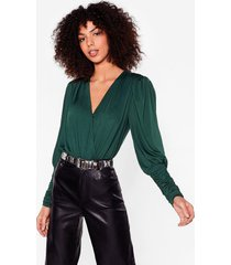 womens do you slink about us shoulder pad wrap bodysuit - green
