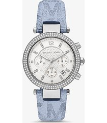 mk orologio parker oversize tonalità argento con logo e pavé - blu (blu) - michael kors