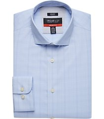 awearness kenneth cole awear-tech gray plaid slim fit dress shirt