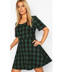 plus flannel skater dress, green