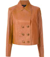 eva leather buttoned jacket - brown