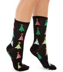 charter club women's holiday trees crew socks, created for macy's