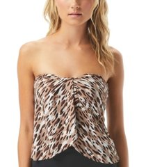 vince camuto cat-print draped bandeau tankini top women's swimsuit