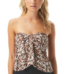 vince camuto cat-print draped tankini top women's swimsuit