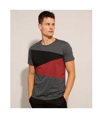 camiseta de algodão slim com recortes contrastantes manga curta gola careca cinza