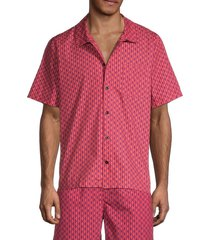 solid and striped men's cabana regular-fit squiggle shirt - pink - size s
