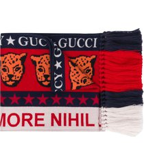 gucci leopard knit scarf - red