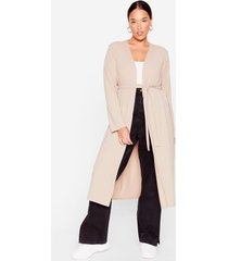 womens longline to the top belted plus cardigan - stone