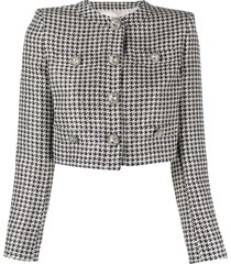 alessandra rich cropped sequin houndstooth jacket - blue
