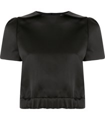 shushu/tong cropped peter pan collar t-shirt - black