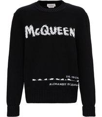 alexander mcqueen graffiti black cotton sweater
