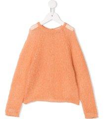 il gufo open knit cardigan - orange