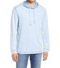 men's tommy bahama barrier beach reversible slub hoodie, size large - blue