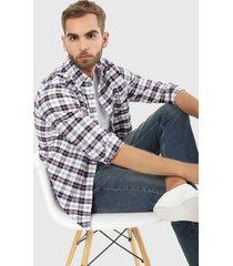 camisa morado-gris-blanco nautica