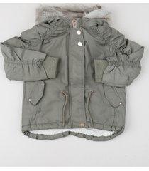 jaqueta infantil peluciada com capuz verde militar