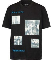 t-shirt men plus zwart::wit::blauw