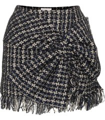 faith connexion bow-detail tweed mini skirt - black