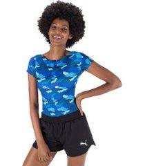 body fitness oxer estampado victoria - feminino - azul/azul esc