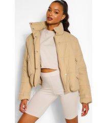 tall korte gewatteerde oversized jas, taupe