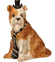 escultura decorativa de resina cachorro top hat