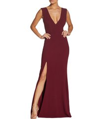 women's dress the population sandra plunge crepe trumpet gown, size small - burgundy