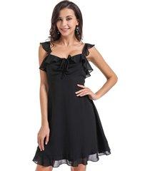 vestido gasa vuelitos negro nicopoly