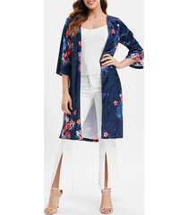 floral longline velvet coat with open front