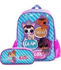 kit escolar infantil mochila de costas + estojo lol