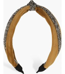 velvet embellished knot top headband, gold