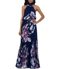 betsy & adam floral-print chiffon halter gown