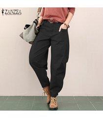 zanzea mujeres de cintura alta pantalones ocasionales flojos de pierna ancha de la linterna trouses plus -negro