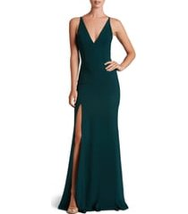 women's dress the population iris slit crepe gown, size xx-large - green