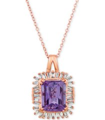 "le vian baguette frenzy amethyst (2-1/2 ct. t.w.) & diamond (1/3 ct. t.w.) 20"" pendant necklace in 14k rose gold"