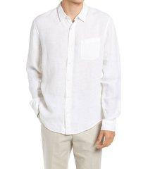 men's vince regular fit linen shirt, size xx-large - white