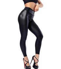 leggings de piel sintética súper elásticos con botones delanteros negros